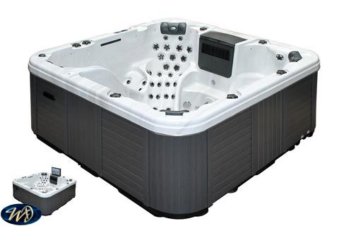 Hot Tub Sunny 3D  , 6 Person , 2 Lounger , 3 Pumps , Sound + TV